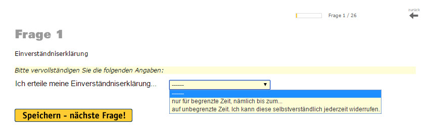 Dropdown mit 3 Antwortoptionen